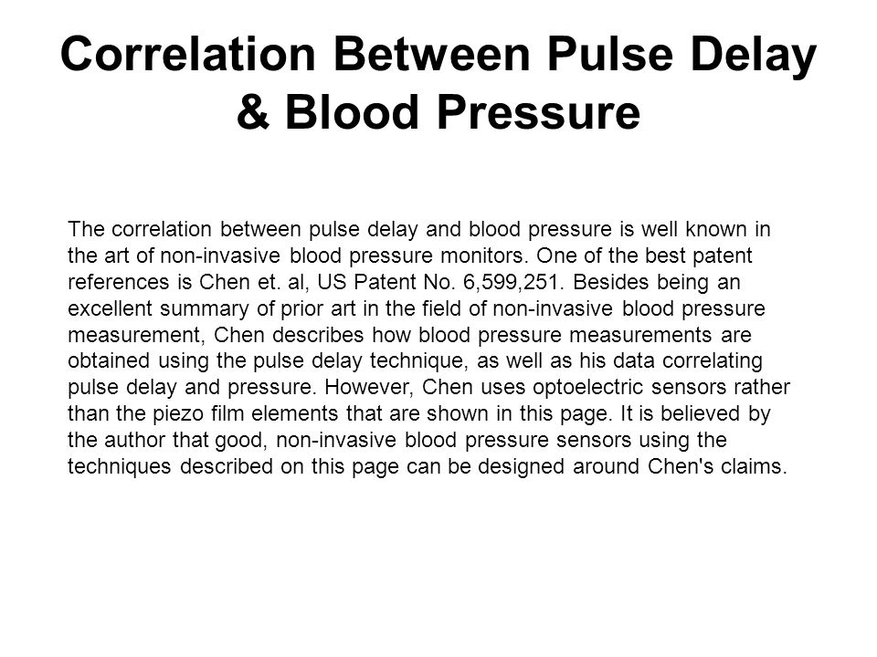 Correlation Between Pulse Delay & Blood Pressure