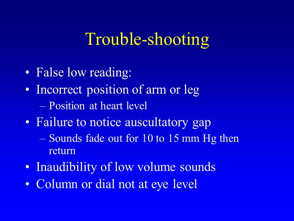 Trouble-shooting False low reading: Incorrect position of arm or leg