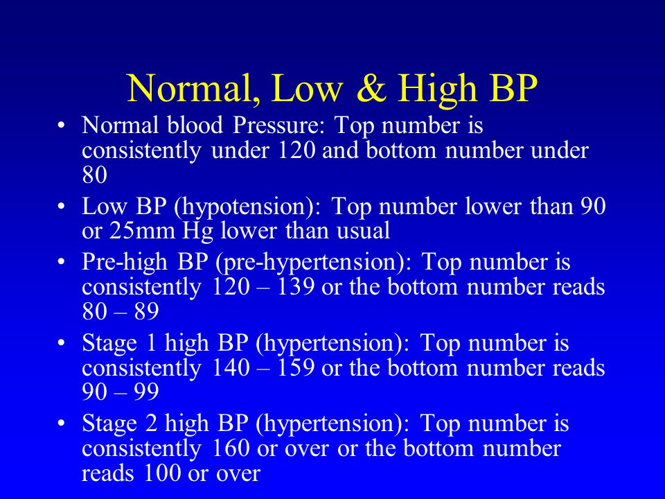 Normal, Low & High BP Normal blood Pressure: Top number is consistently under 120 and bottom number under 80.