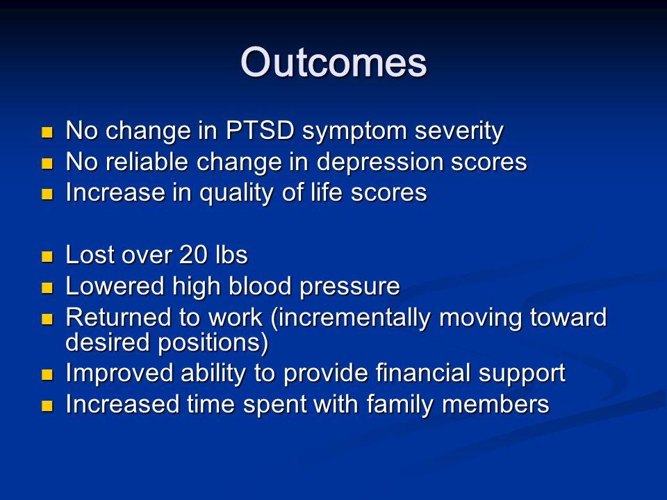 Outcomes No change in PTSD symptom severity