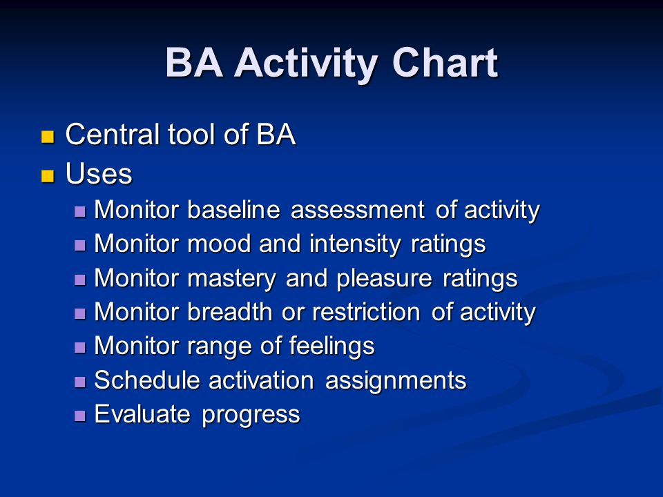 BA Activity Chart Central tool of BA Uses