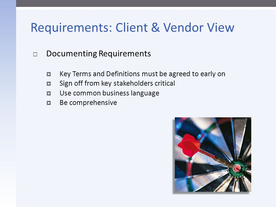 Requirements: Client & Vendor View