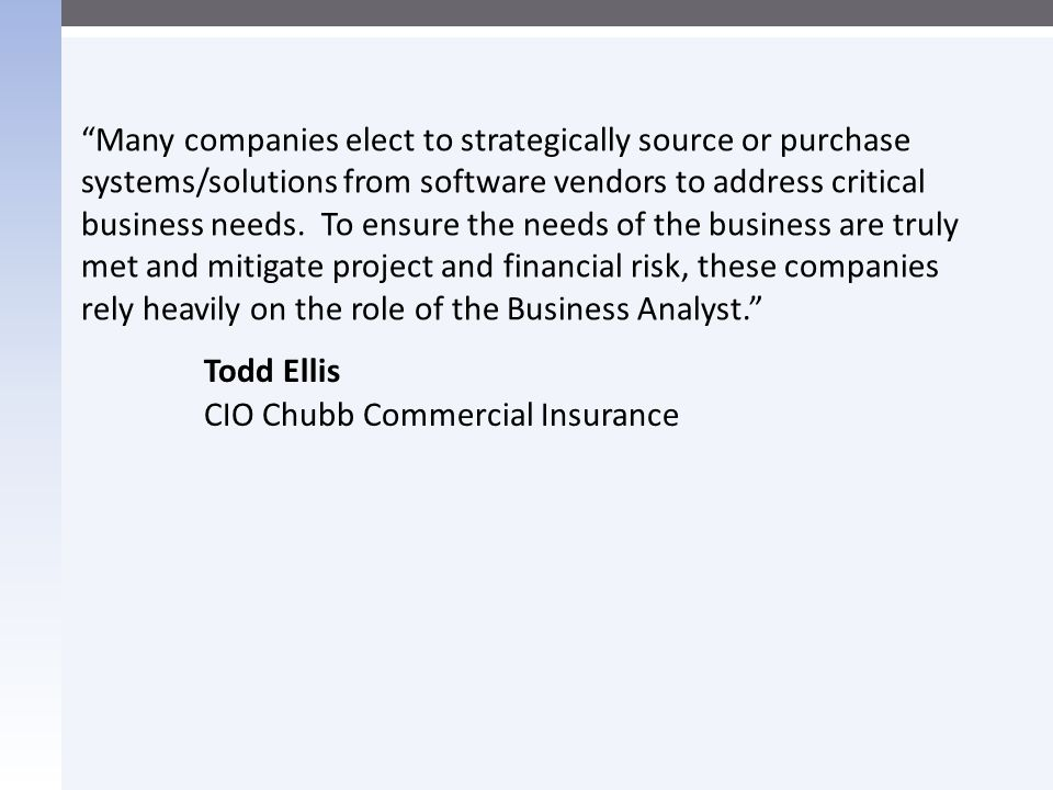 Todd Ellis CIO Chubb Commercial Insurance