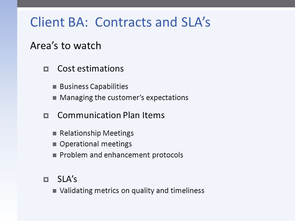 Client BA: Contracts and SLA's