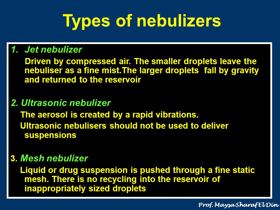 Types of nebulizers Jet nebulizer 2. Ultrasonic nebulizer