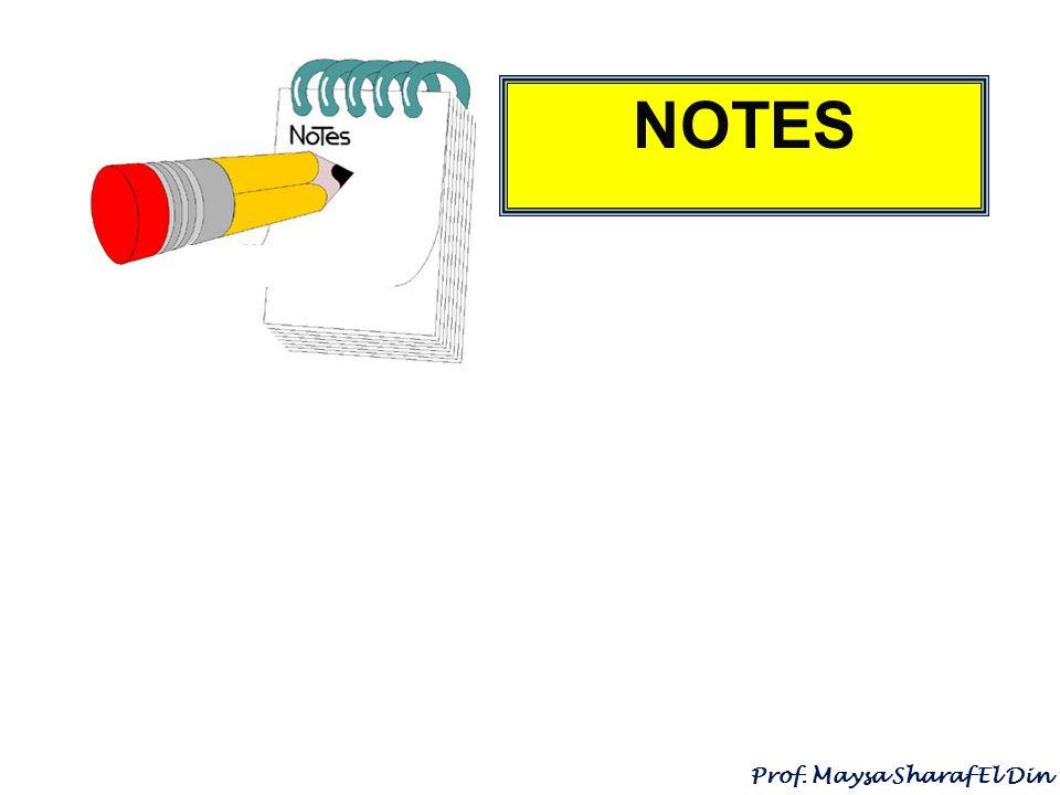 NOTES Prof. Maysa Sharaf El Din