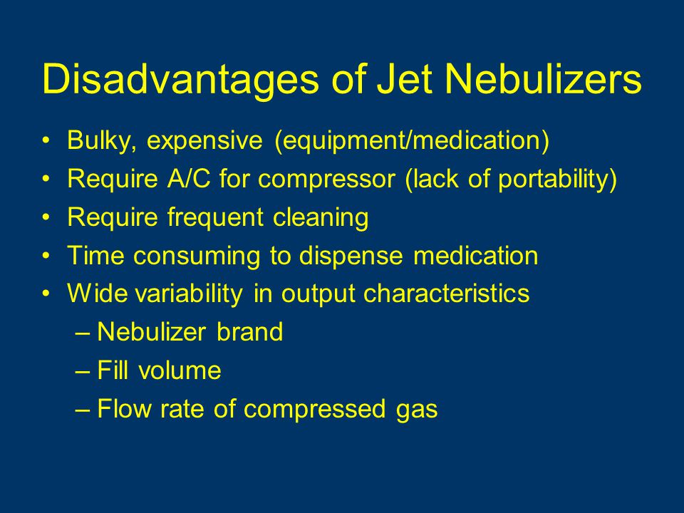 Disadvantages of Jet Nebulizers