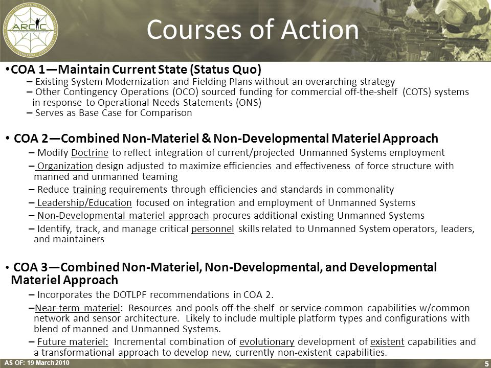 Courses of Action COA 1—Maintain Current State (Status Quo)