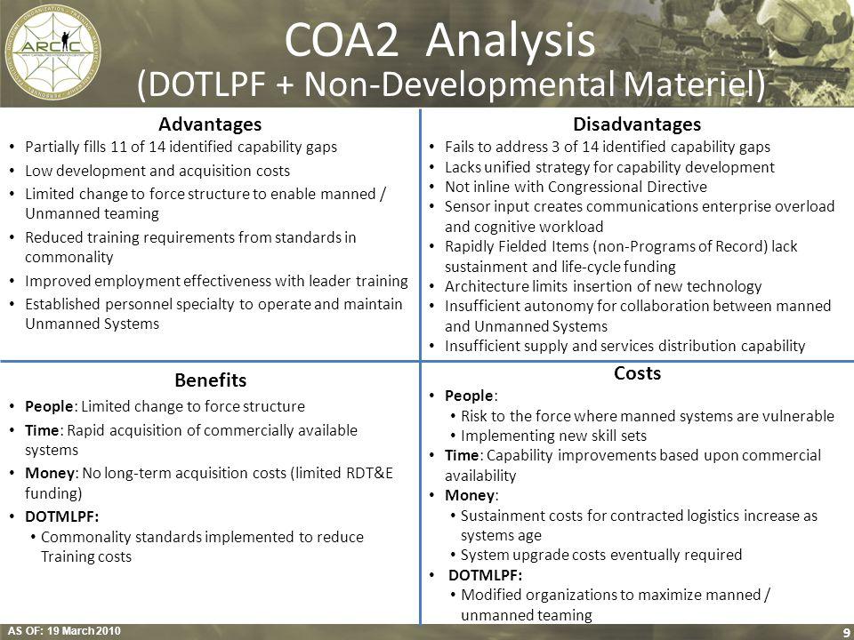 COA2 Analysis (DOTLPF + Non-Developmental Materiel)