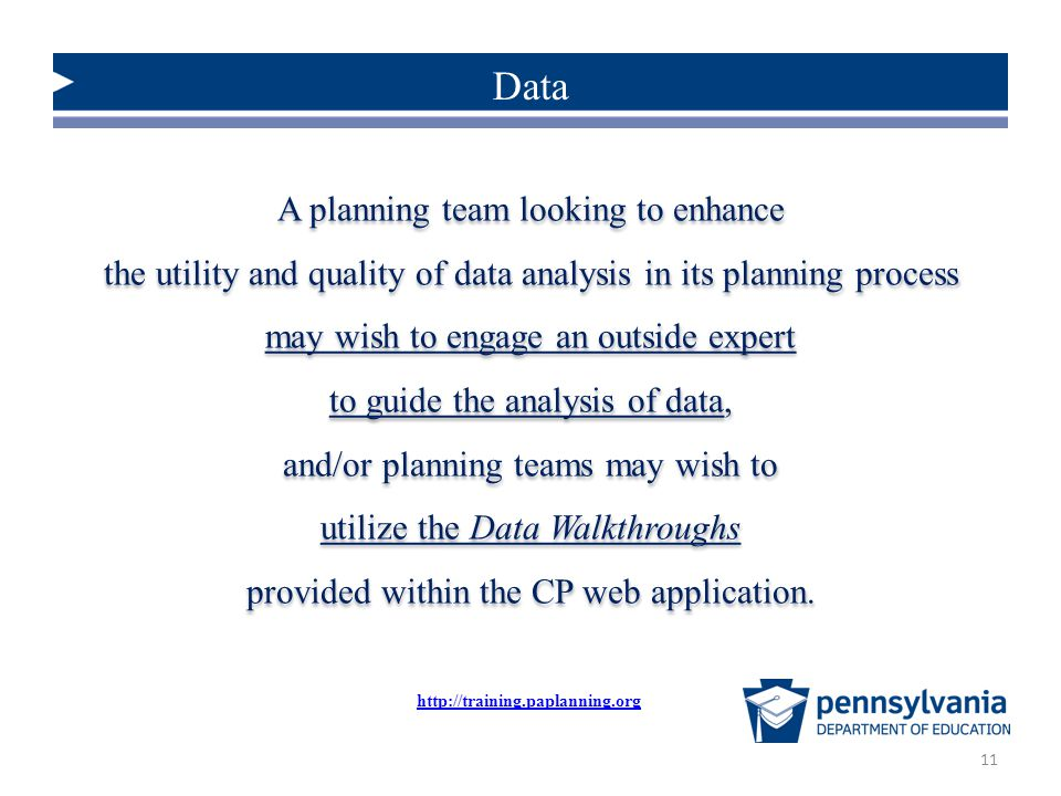 Data A planning team looking to enhance