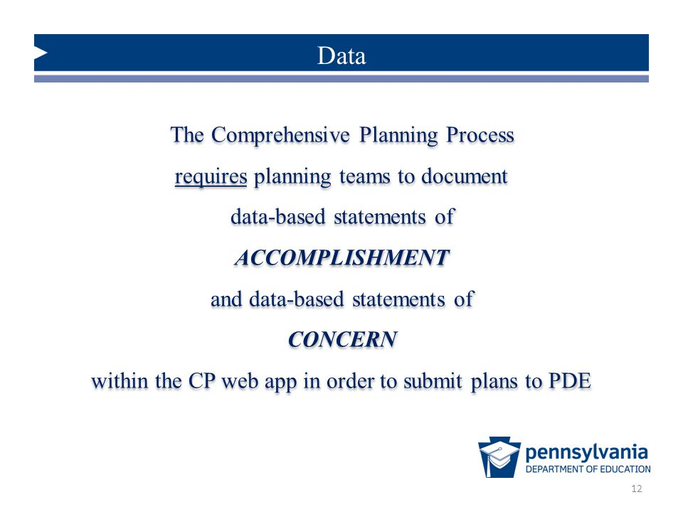 Data The Comprehensive Planning Process