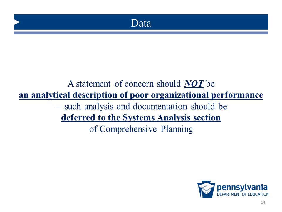 Data A statement of concern should NOT be