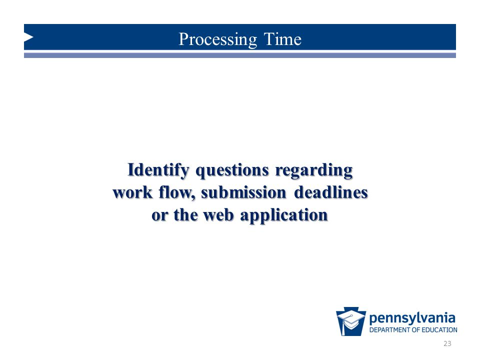 Identify questions regarding work flow, submission deadlines