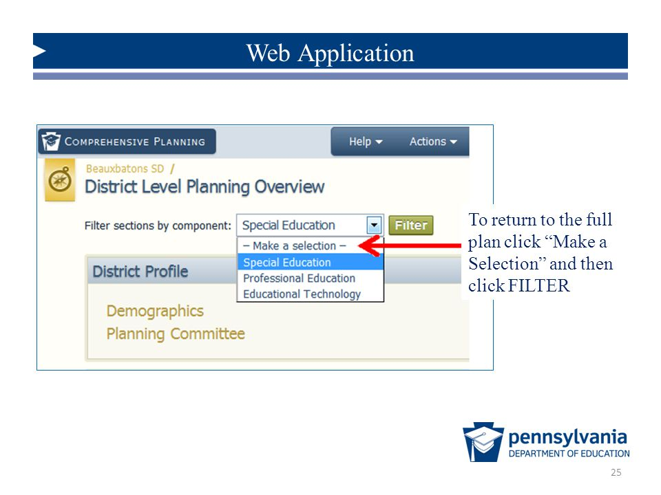 Web Application To return to the full plan click Make a Selection and then click FILTER