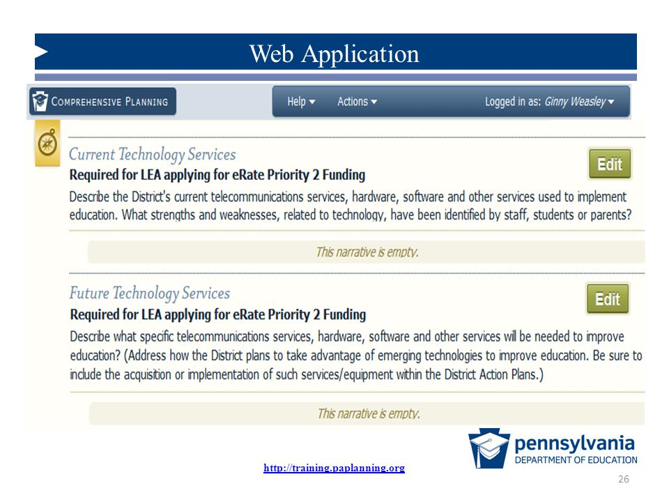 Web Application Scroll down the section until you reach the narratives shown here: http://training.paplanning.org.