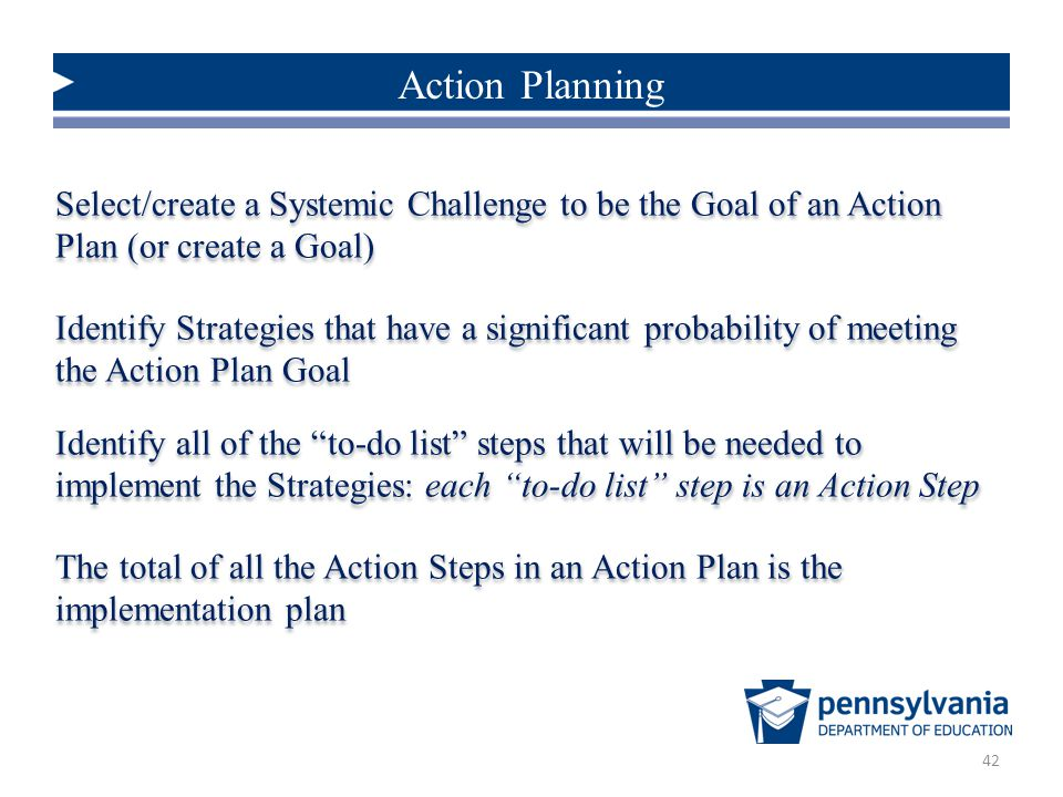 Action Planning Select/create a Systemic Challenge to be the Goal of an Action Plan (or create a Goal)