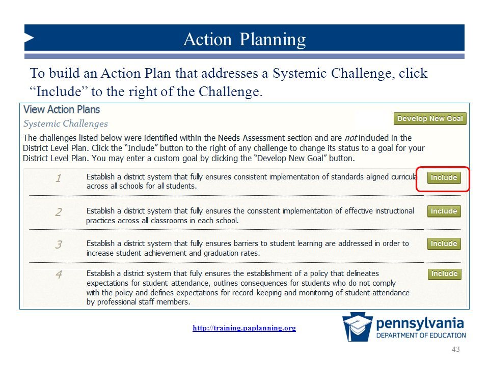 Action Planning To build an Action Plan that addresses a Systemic Challenge, click Include to the right of the Challenge.