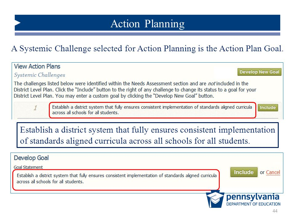 Action Planning A Systemic Challenge selected for Action Planning is the Action Plan Goal.