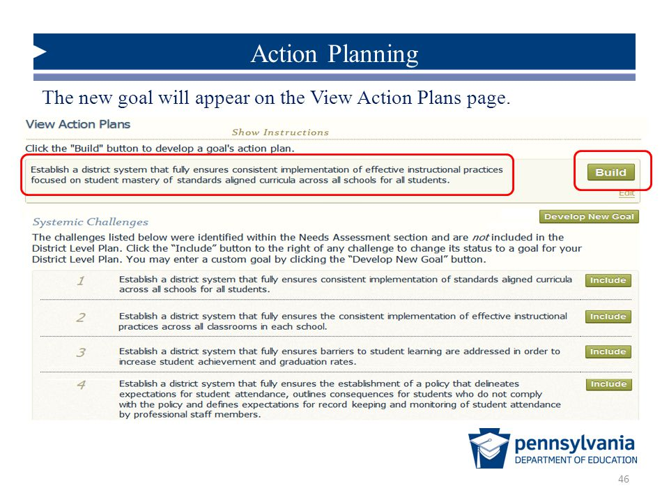 Action Planning The new goal will appear on the View Action Plans page.