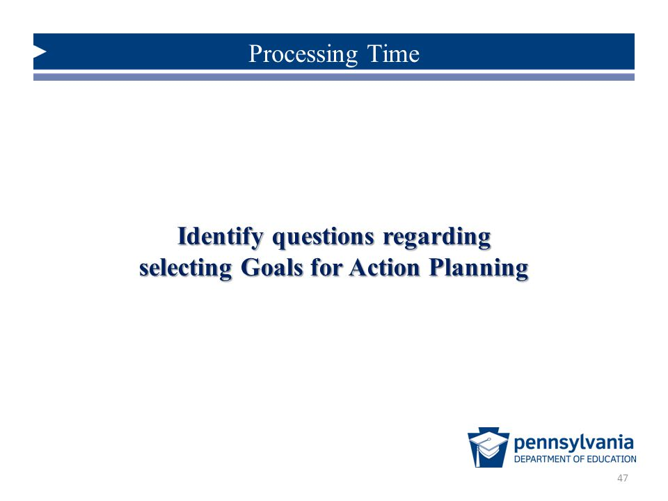 Identify questions regarding selecting Goals for Action Planning