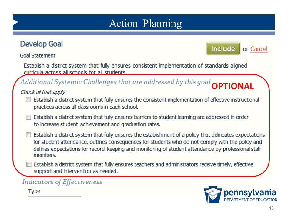 Action Planning OPTIONAL