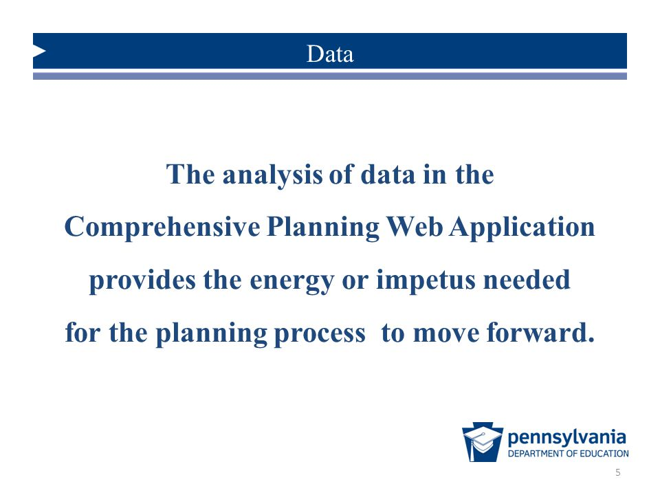 The analysis of data in the Comprehensive Planning Web Application
