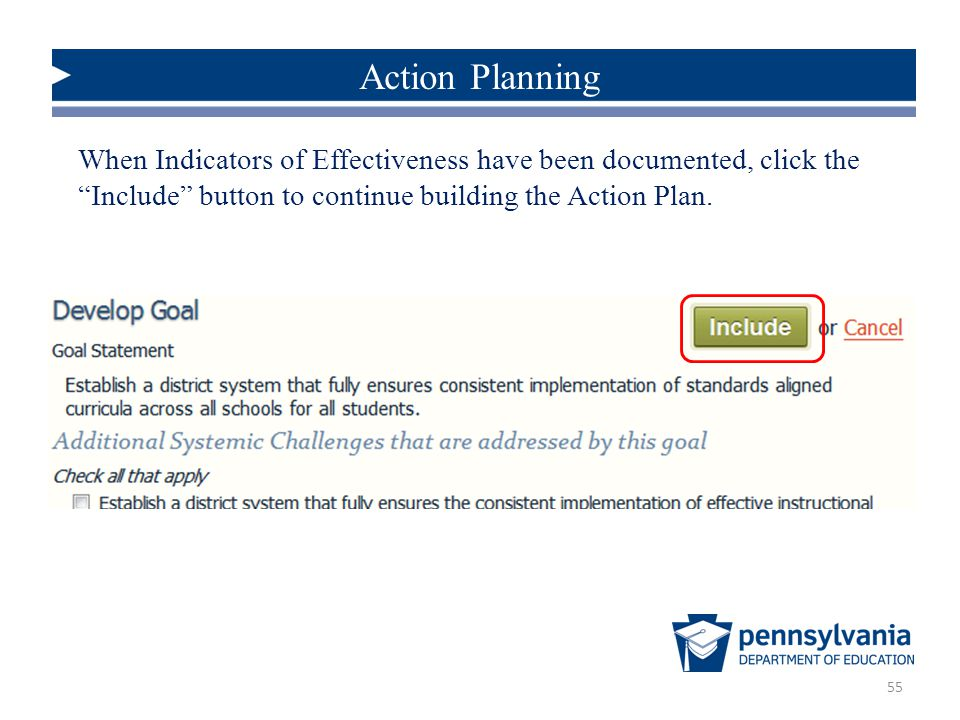 Action Planning When Indicators of Effectiveness have been documented, click the Include button to continue building the Action Plan.