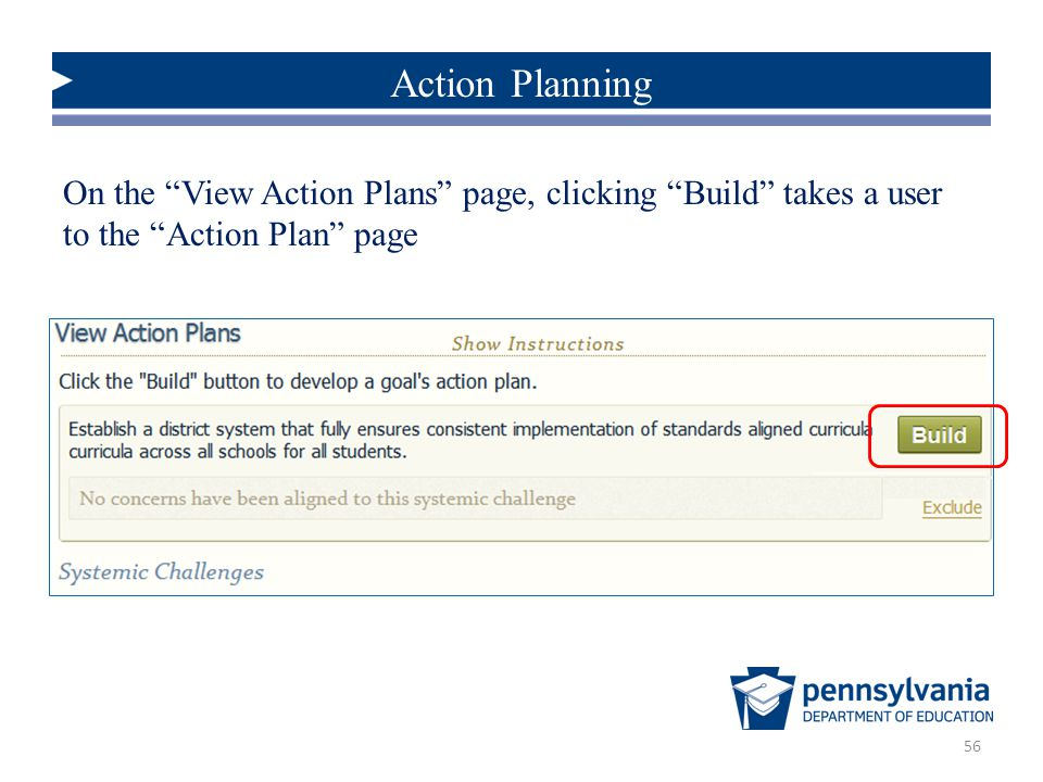 Action Planning On the View Action Plans page, clicking Build takes a user to the Action Plan page.