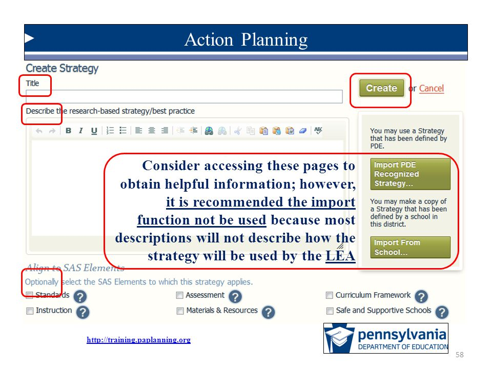 Action Planning Consider accessing these pages to obtain helpful information; however,