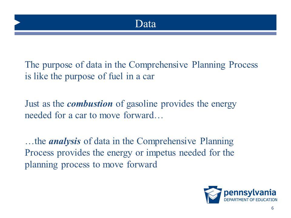 Data The purpose of data in the Comprehensive Planning Process is like the purpose of fuel in a car.
