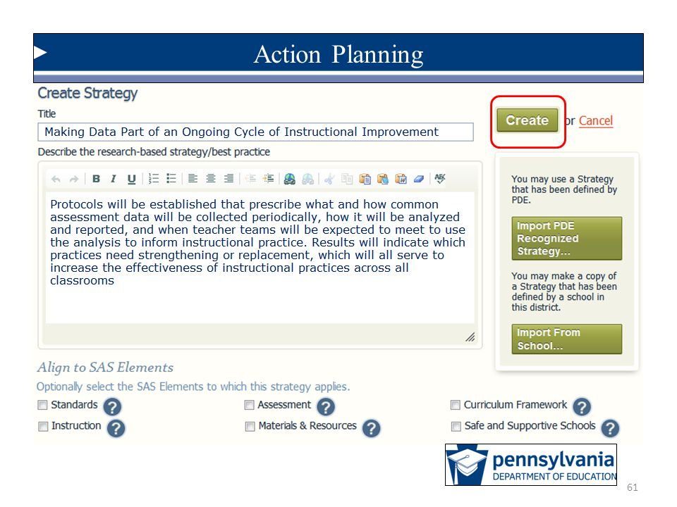 Action Planning Here is the page you will use to document a strategy. Note that it needs a title… CLICK.