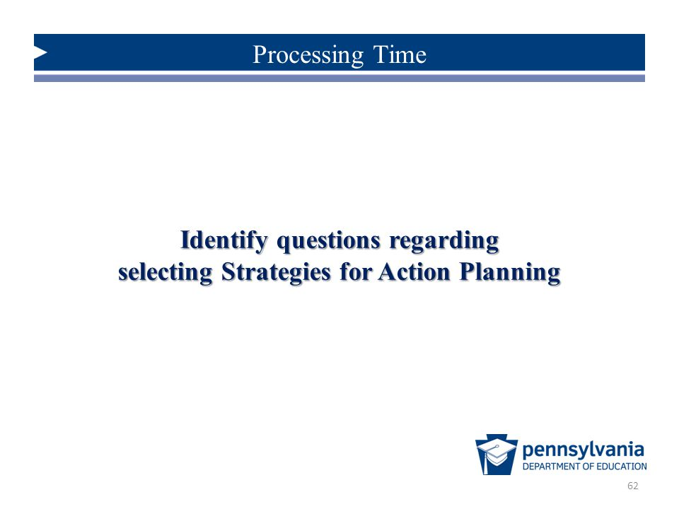 Identify questions regarding selecting Strategies for Action Planning