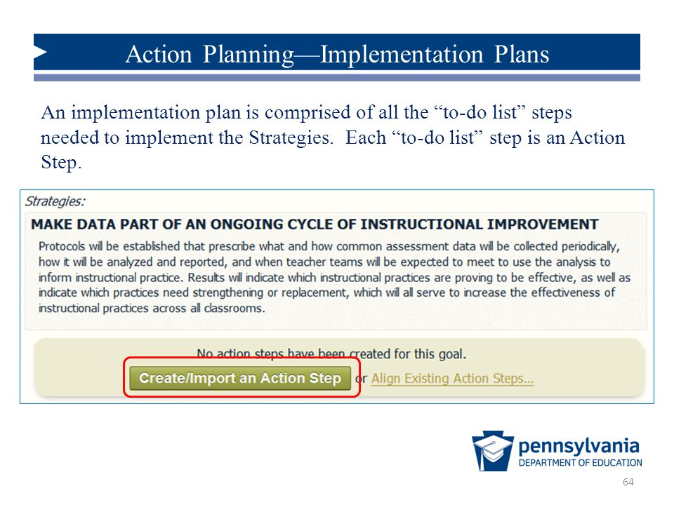 Action Planning—Implementation Plans