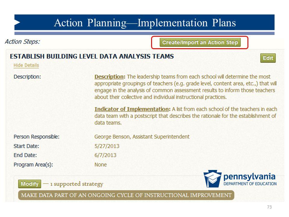 Action Planning—Implementation Plans