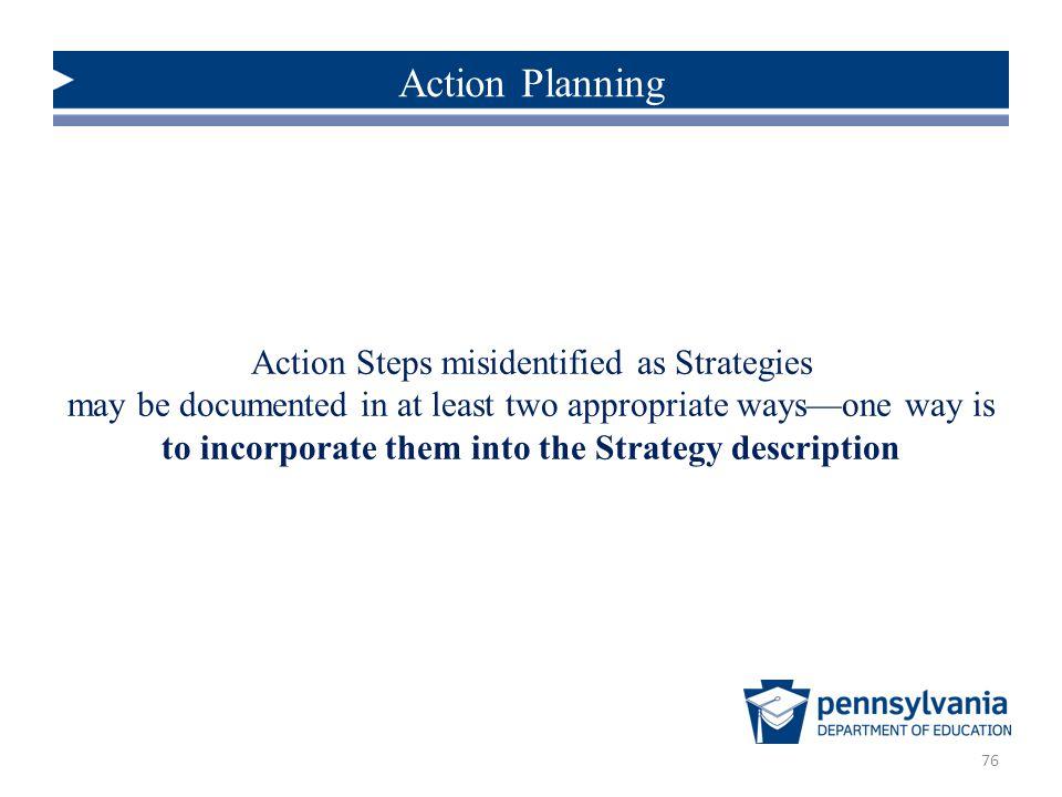 Action Steps misidentified as Strategies