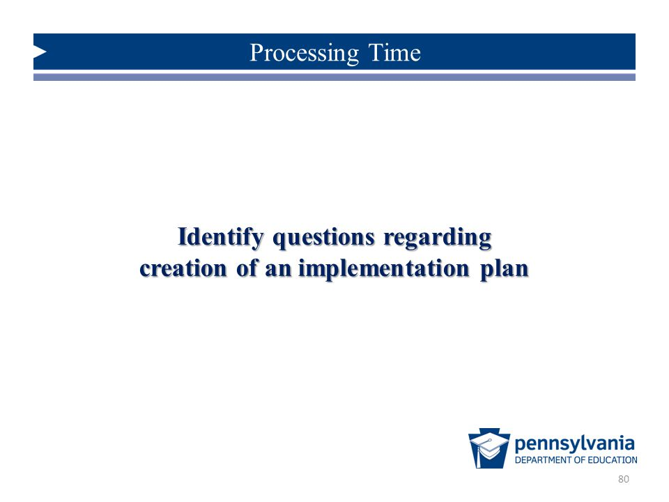 Identify questions regarding creation of an implementation plan
