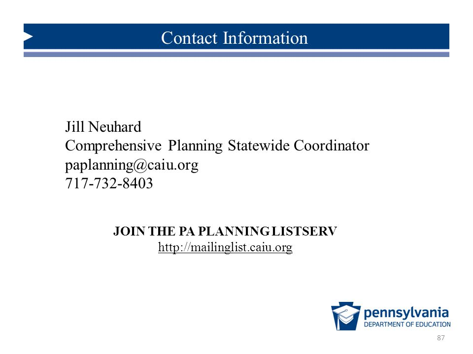 JOIN THE PA PLANNING LISTSERV http://mailinglist.caiu.org