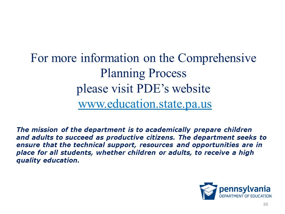 For more information on the Comprehensive Planning Process