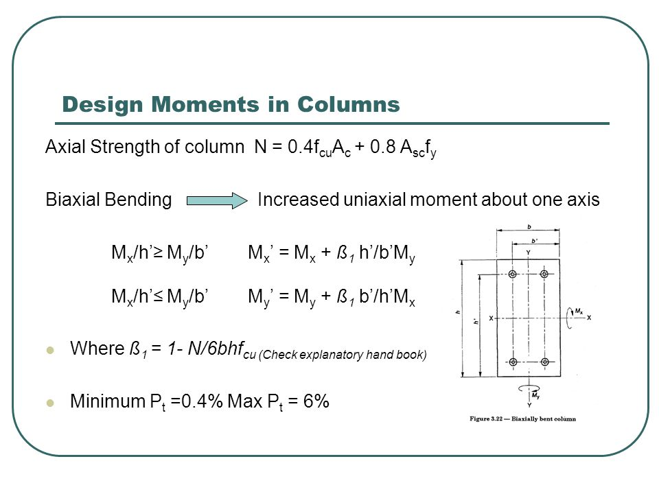 Design Moments in Columns