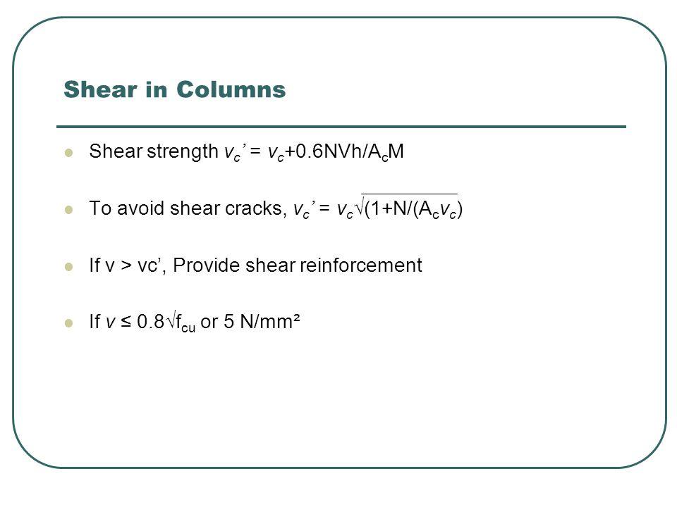 Shear in Columns Shear strength vc' = vc+0.6NVh/AcM