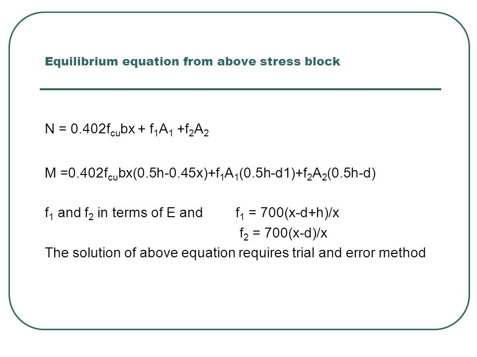 Equilibrium equation from above stress block