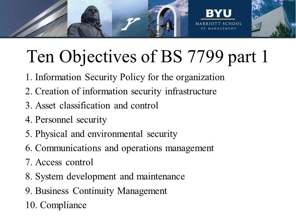 Ten Objectives of BS 7799 part 1
