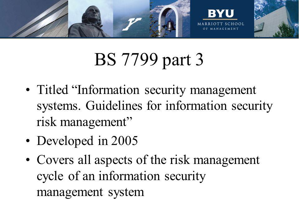 BS 7799 part 3 Titled Information security management systems. Guidelines for information security risk management