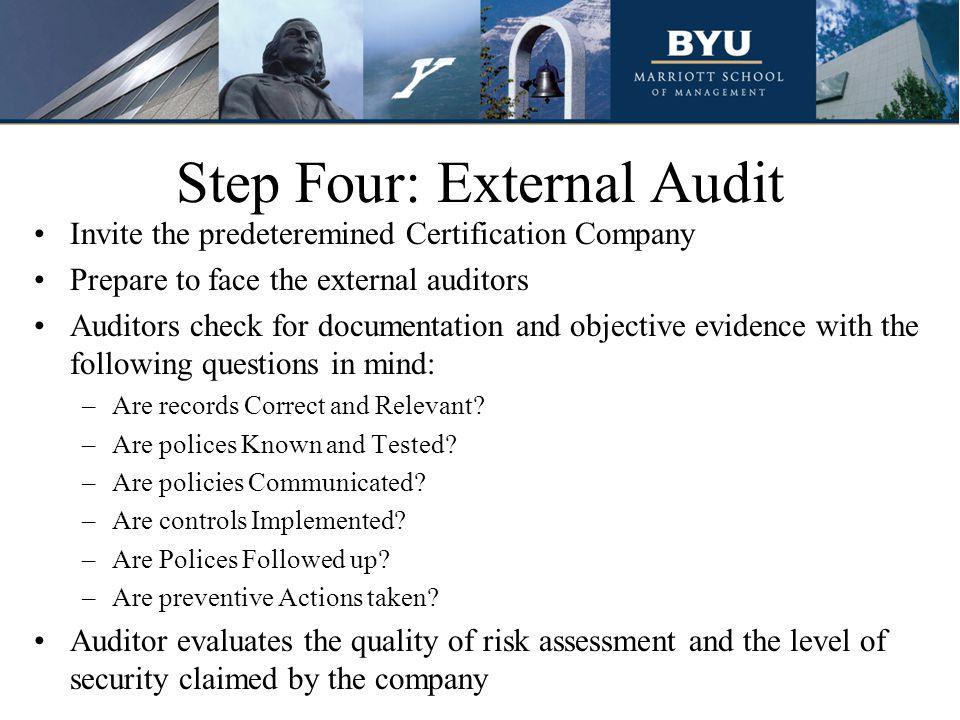 Step Four: External Audit