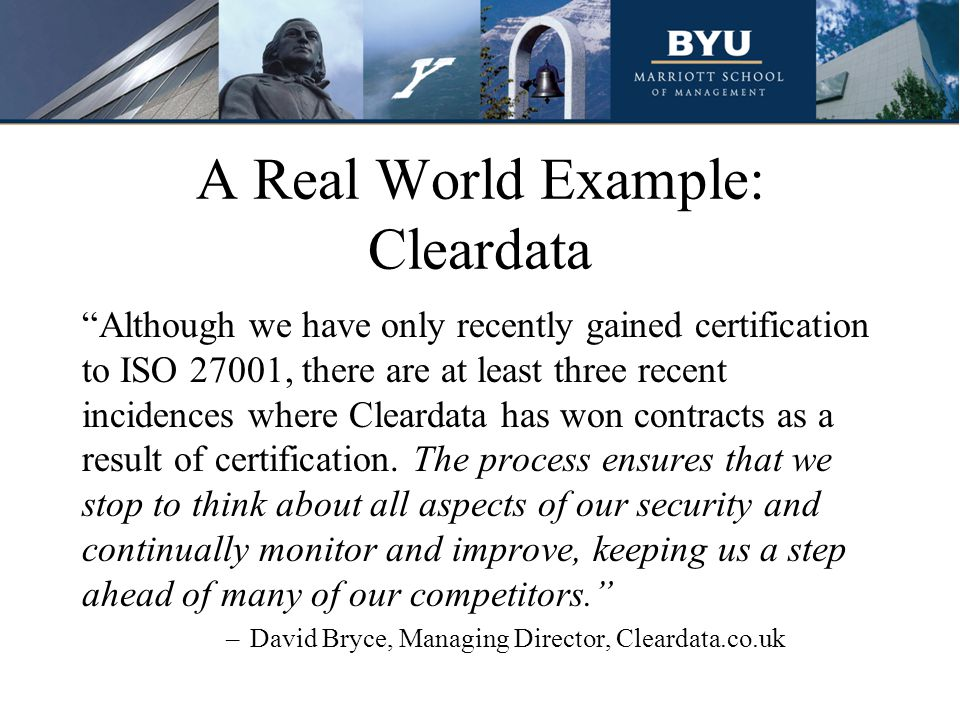 A Real World Example: Cleardata