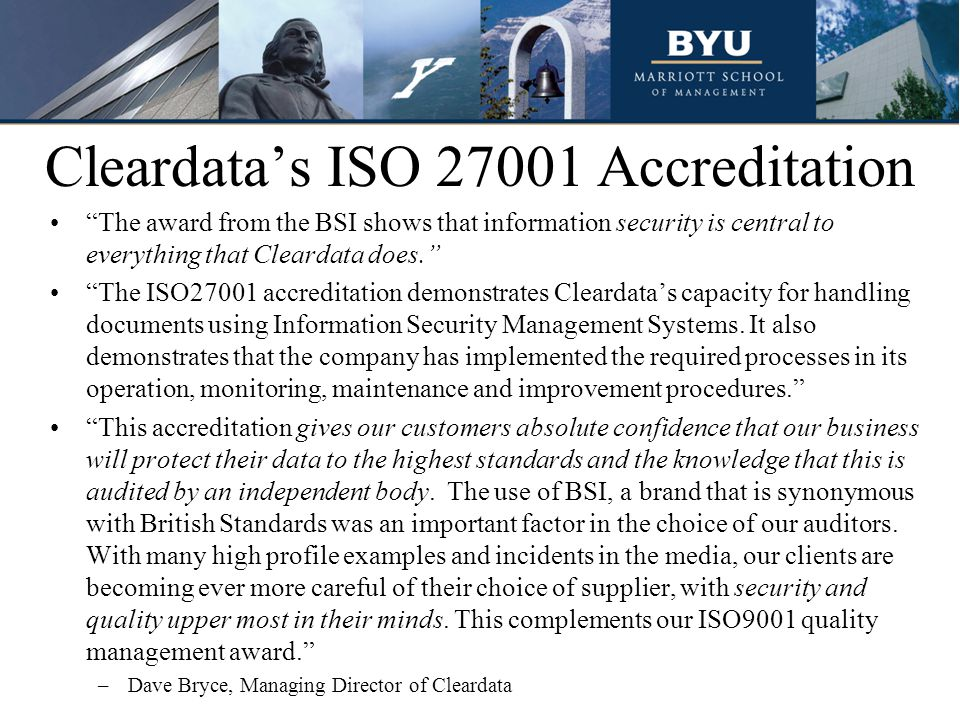 Cleardata's ISO 27001 Accreditation