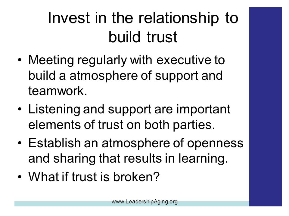 Invest in the relationship to build trust