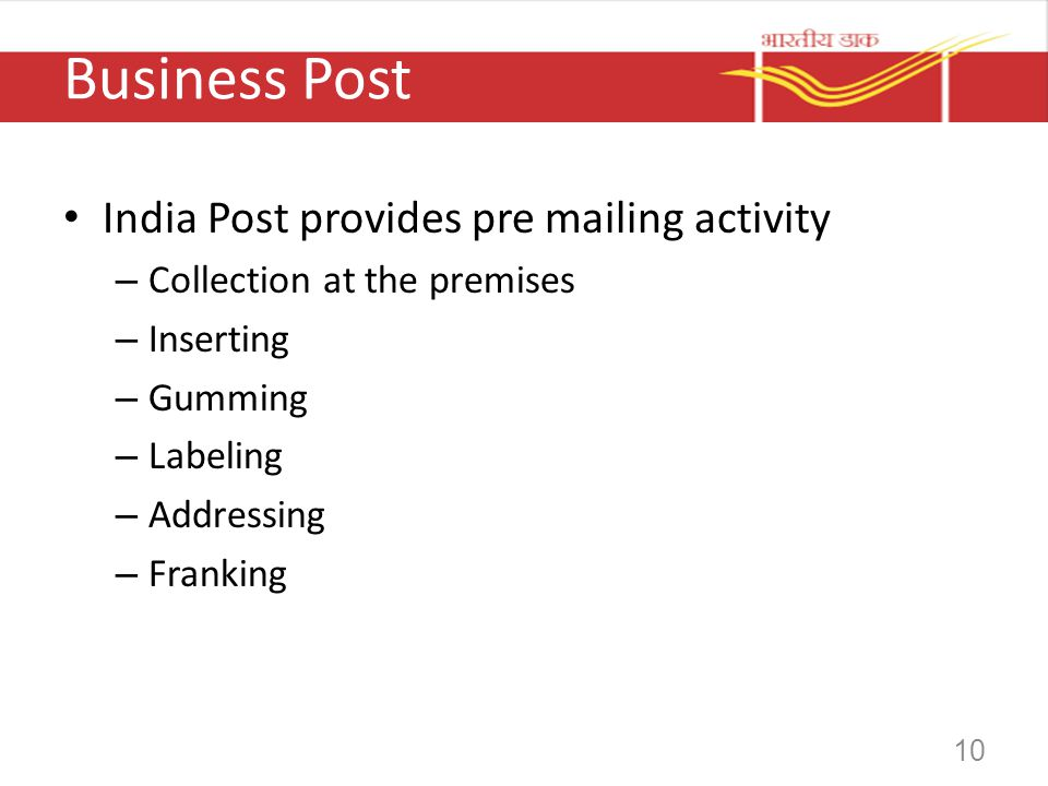 Business Post India Post provides pre mailing activity