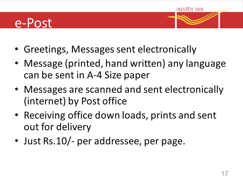 e-Post Greetings, Messages sent electronically
