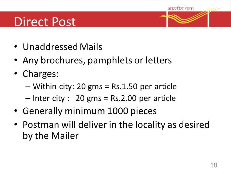 Direct Post Unaddressed Mails Any brochures, pamphlets or letters